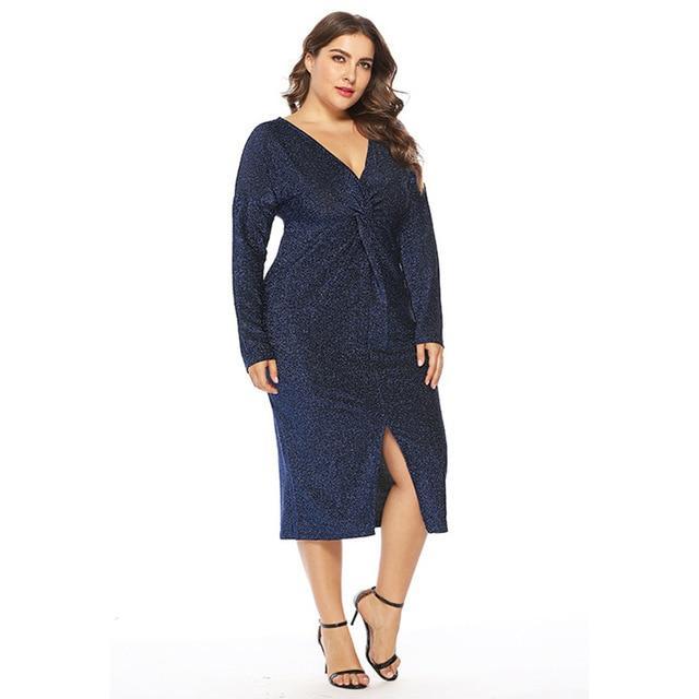 Unique Plus Size Prom Dresses - blue color
