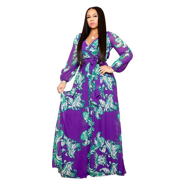 Plus Size Long Dresses - blue color