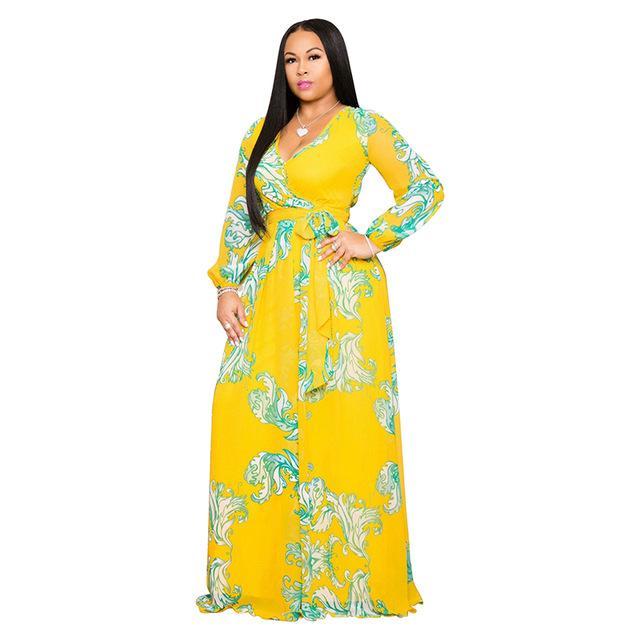Plus Size Long Dresses - yellow color