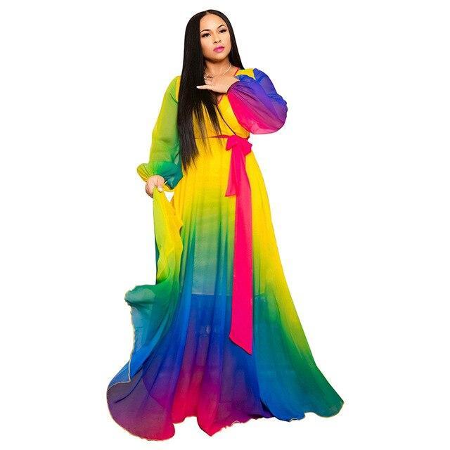 Plus Size Long Dresses - multi color