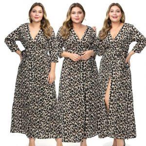 Large Size Chiffon Split Dress - gray main picture