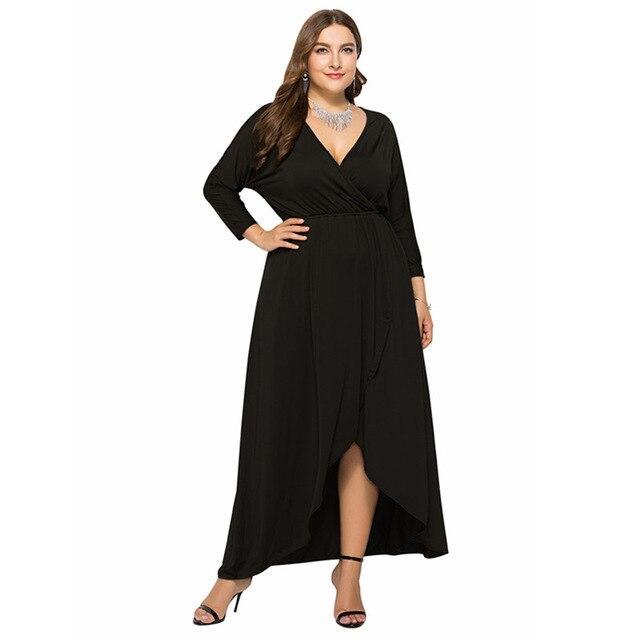 Long Sleeve Plus sSize Evening Dresses - black color