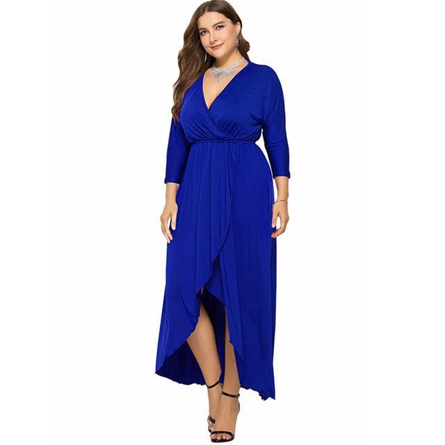Long Sleeve Plus Size Evening Dresses - blue color