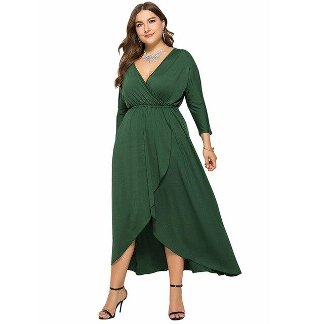 Long Sleeve Plus sSize Evening Dresses - green color