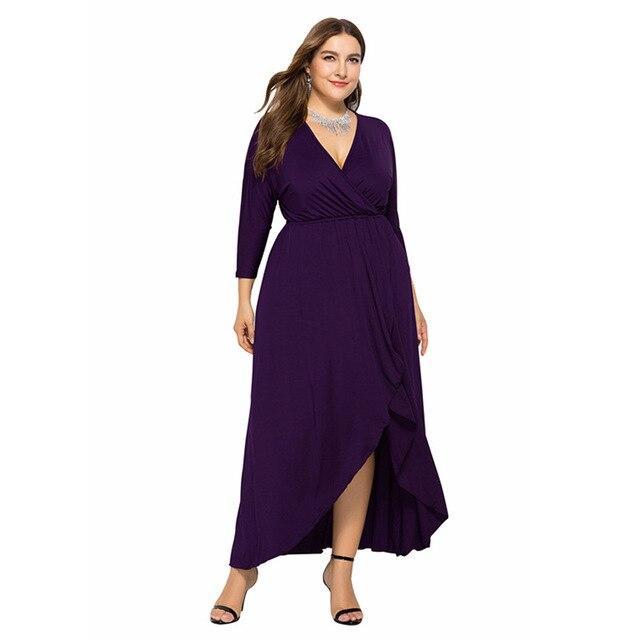 Long Sleeve Plus sSize Evening Dresses - purple color