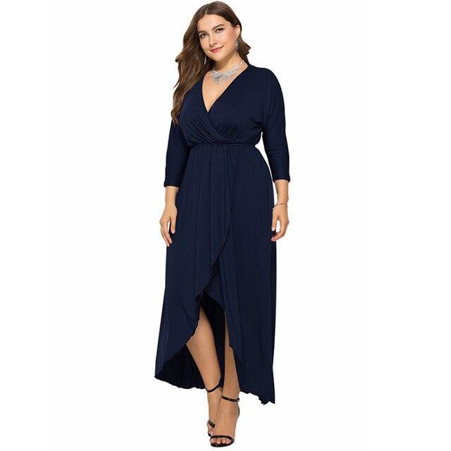 Long Sleeve Plus sSize Evening Dresses - navy blue color