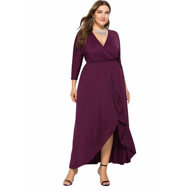 Long Sleeve Plus Size Evening Dresses - fuchsia color