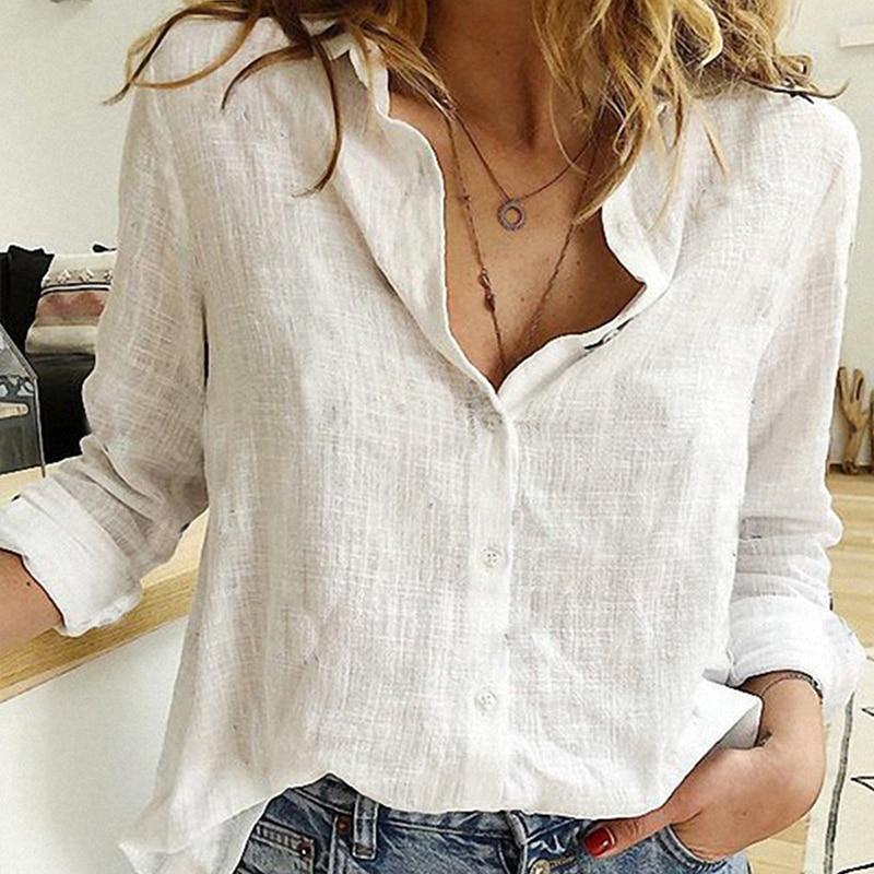 Plus Size Black Blouse Long Sleeve - white  color