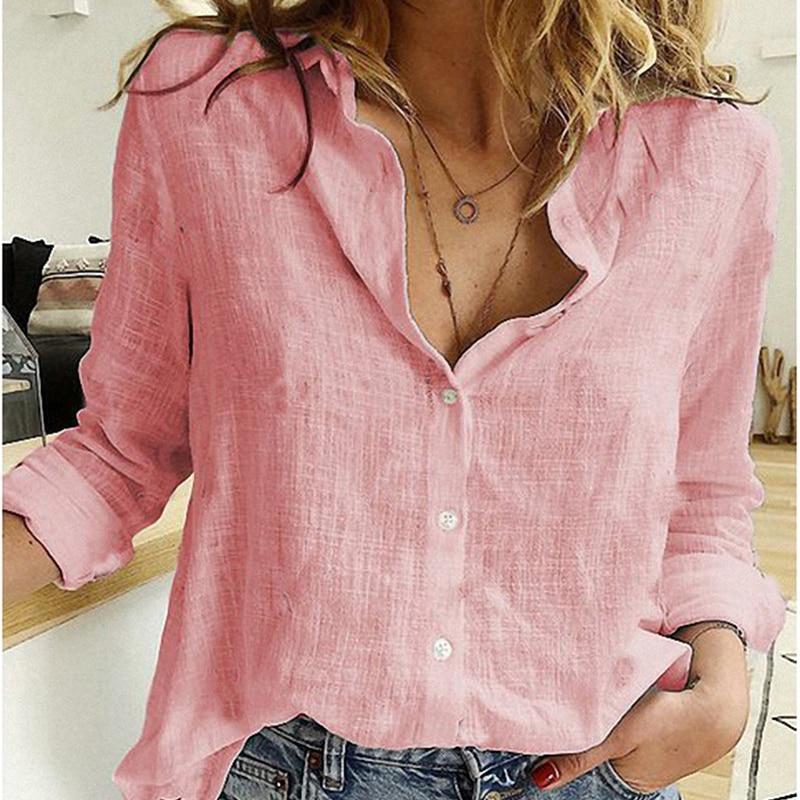 Plus Size Black Blouse Long Sleeve - pink color