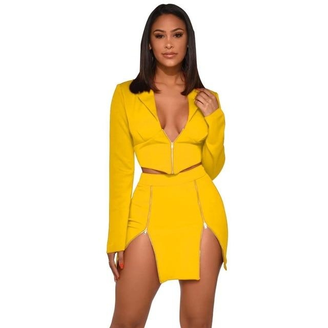 Sexy Two Piece Sets - yellow color