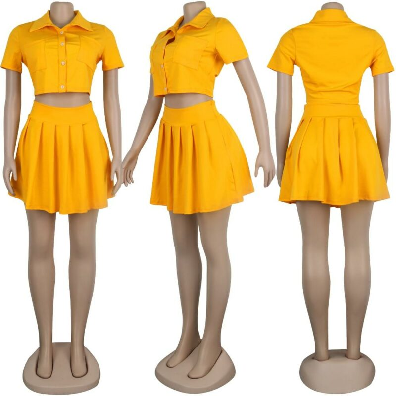 Crop Top and Skirt Set - yellow model picture