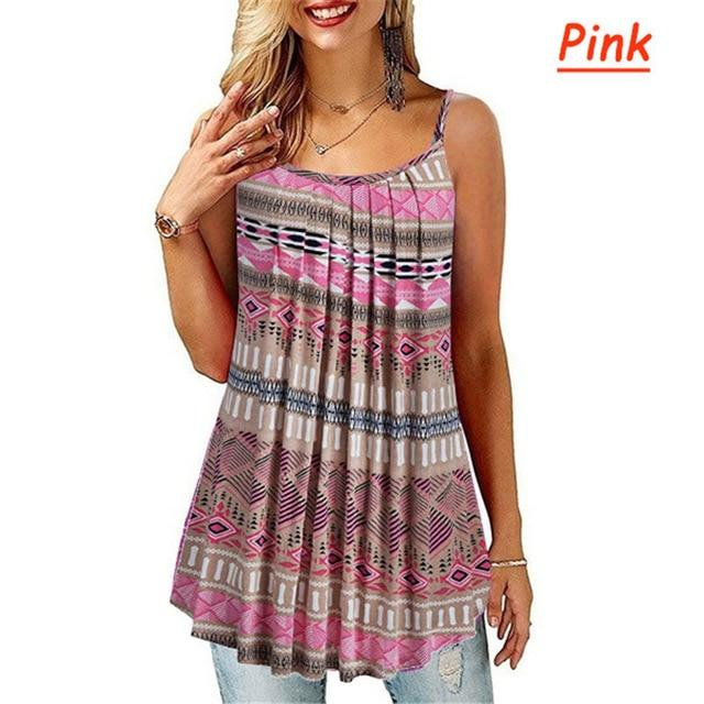 Plus Size Black And White Striped Shirt - pink color