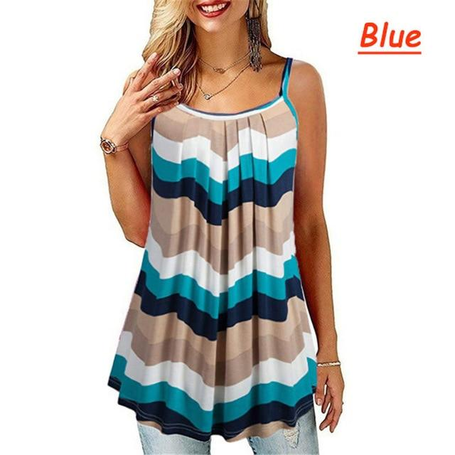 Plus Size Black And White Striped Shirt - blue color