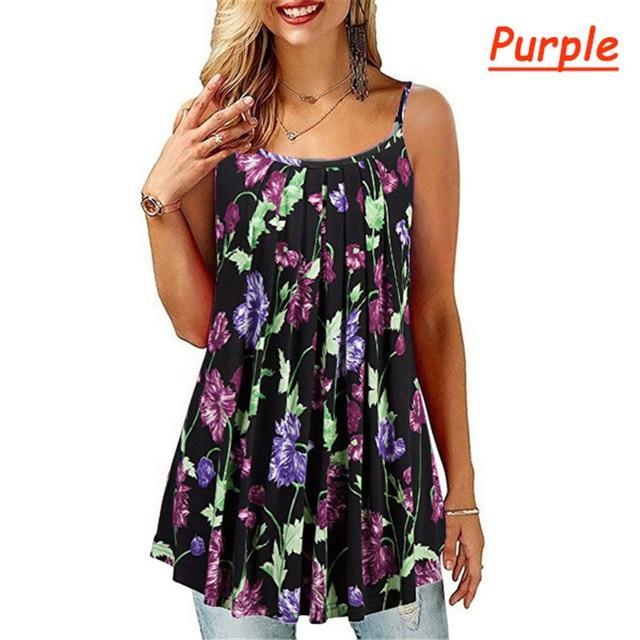 Plus Size Black And White Striped Shirt - purple color
