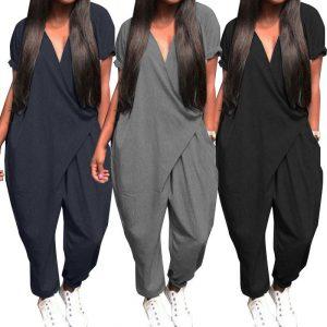 Plus Size V Neck Jumpsuit - main picture