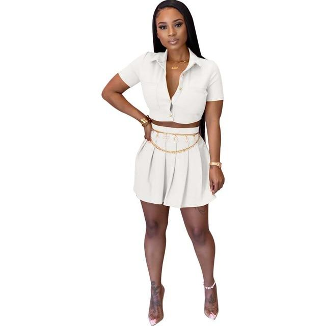 Crop Top and Skirt Set - white  color