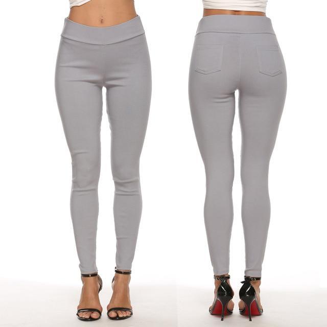 Plus Size Pencil Pants Trousers - gray color