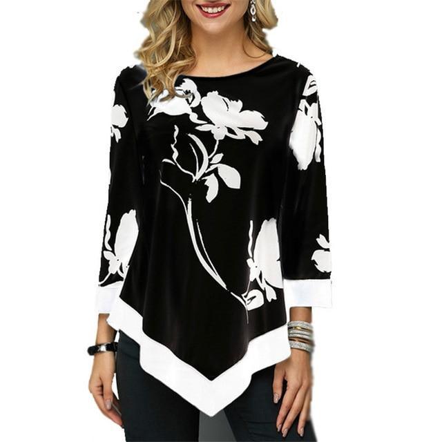 Plus Size Oversized T Shirt - black color