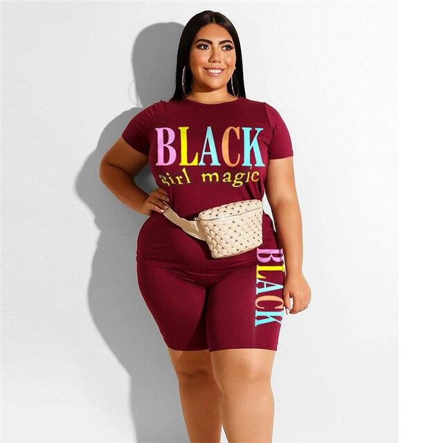 Plus Size Summer Womens 2 Piece Sets - red color