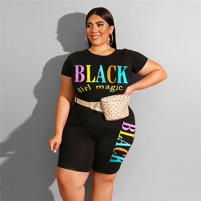 Plus Size Summer Womens 2 Piece Sets - black color