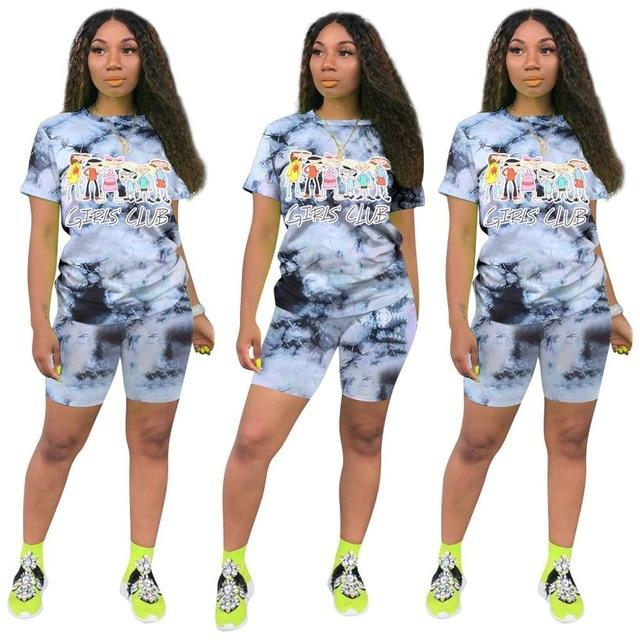 Plus Size Casual Fashion Printing Set - ink color