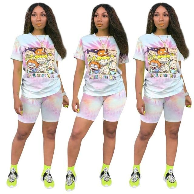 Plus Size Casual Fashion Printing Set - pink color
