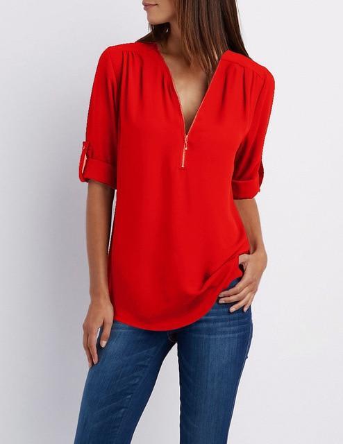 Royal Blue Plus Size T Shirt - red color