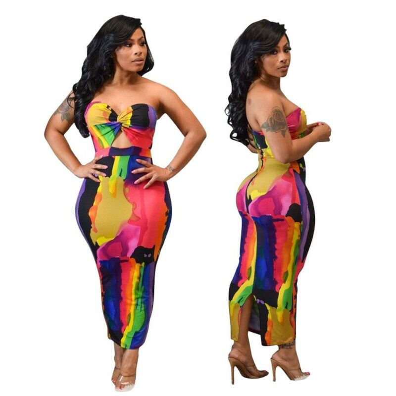 Sexy Printed Strapless Dresses - multi colors