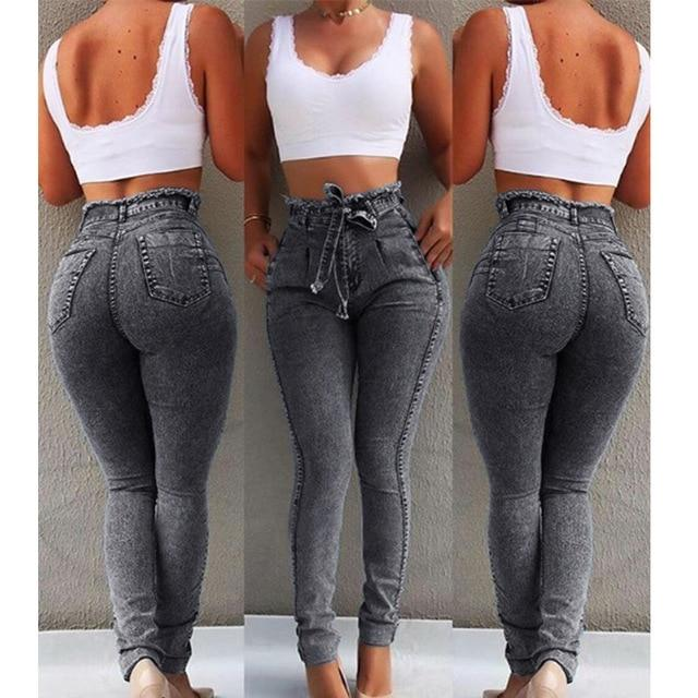 Plus Size High Waisted Jeans - black gray color