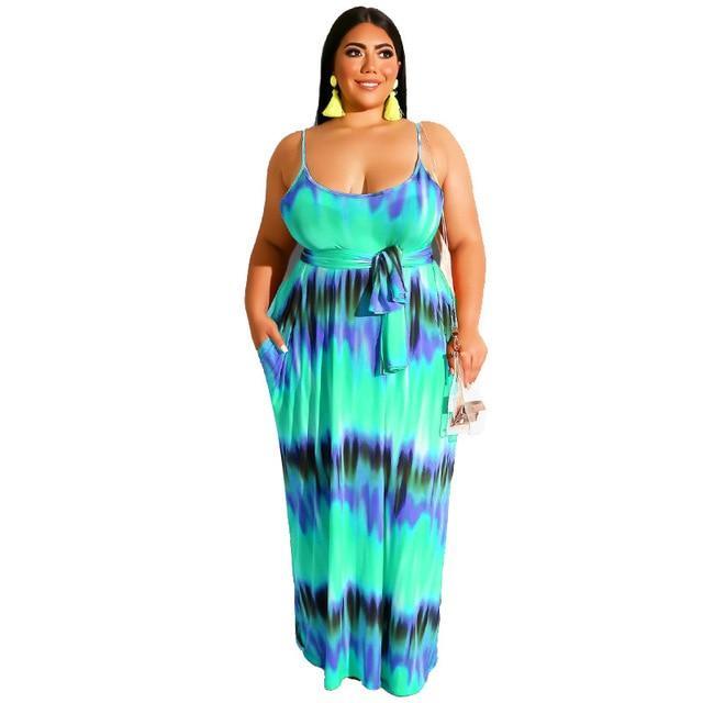 Plus Size Boho Dresses - blue color