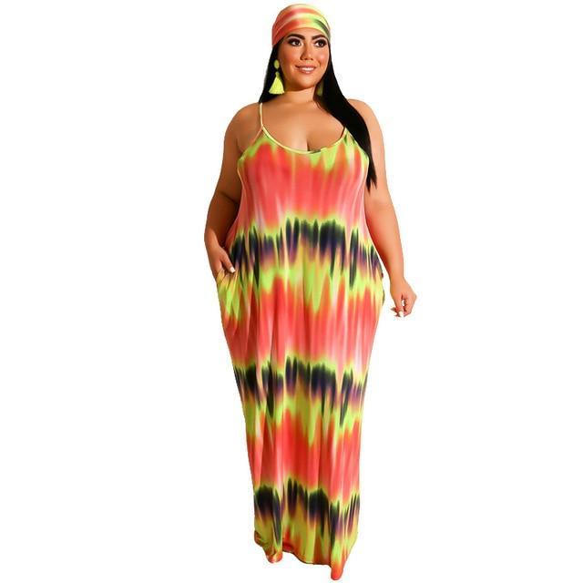 Plus Size Boho Dresses - orange color