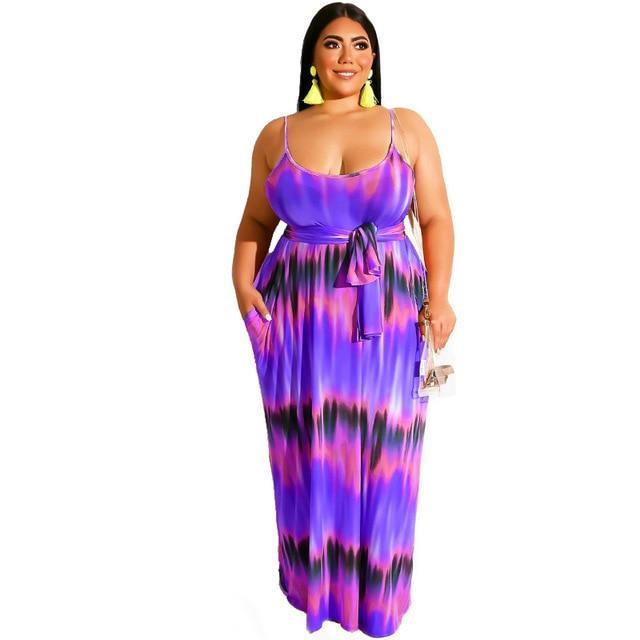 Plus Size Boho Dresses - purple color