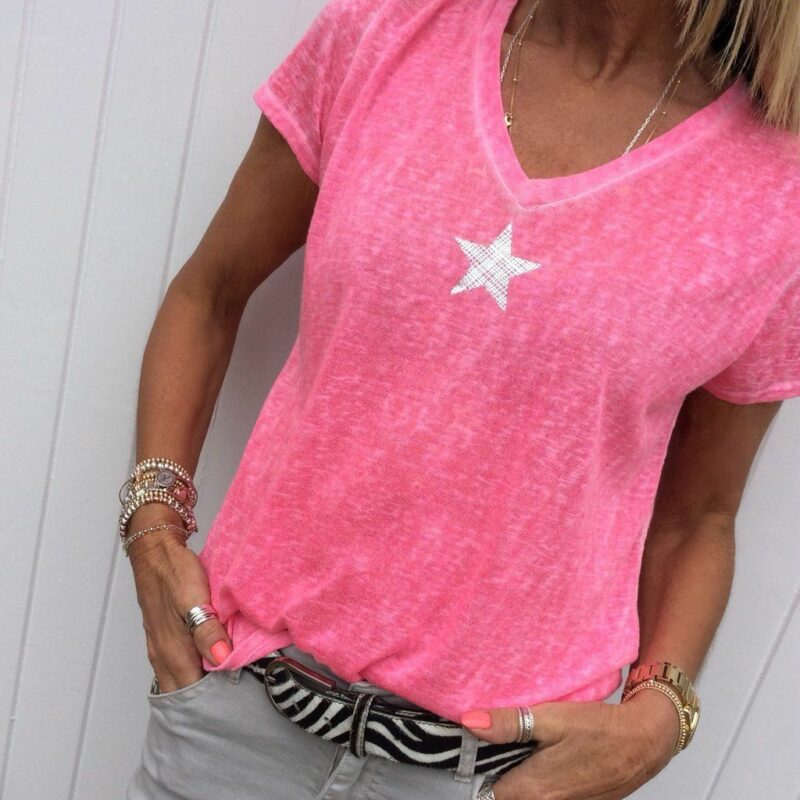 Plus Size Hot Pink t Shirt - pink color