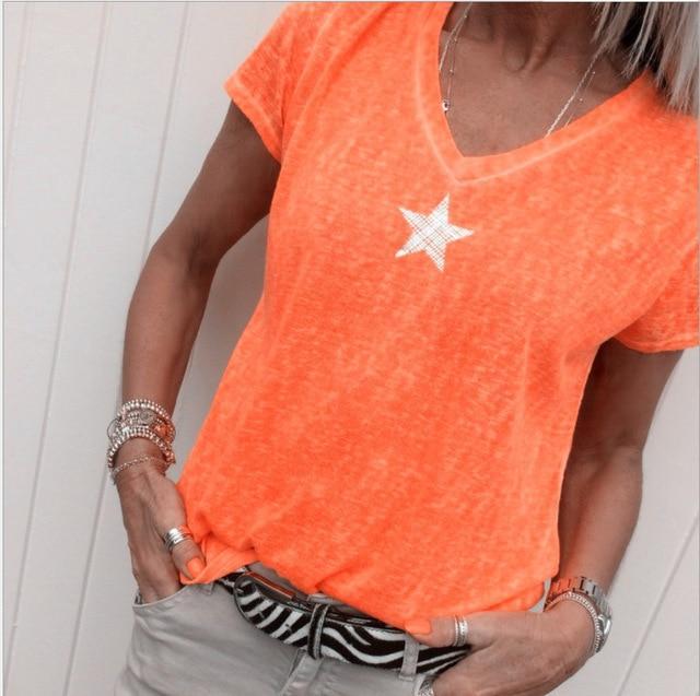 Plus Size Hot Pink t Shirt - orange  color