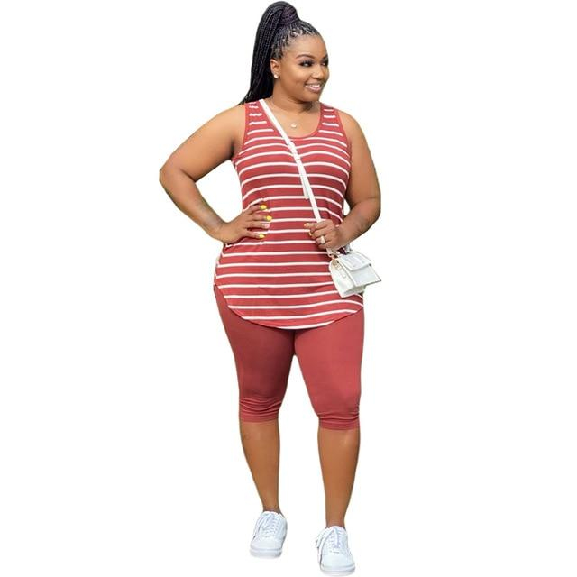 Plus Size XL-5XL Sport Two Piece Sets - red color