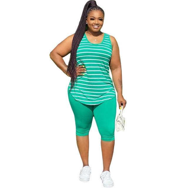 Plus Size XL-5XL Sport Two Piece Sets - green color