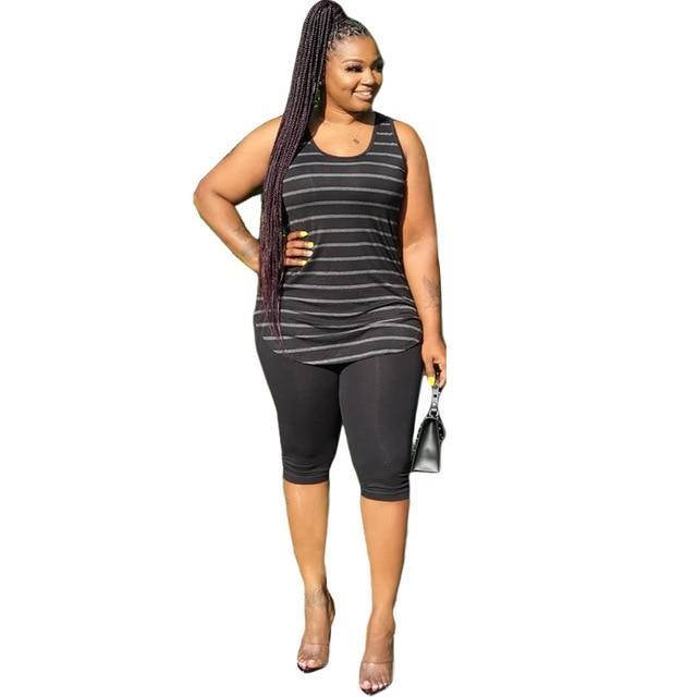 Plus Size XL-5XL Sport Two Piece Sets - black color