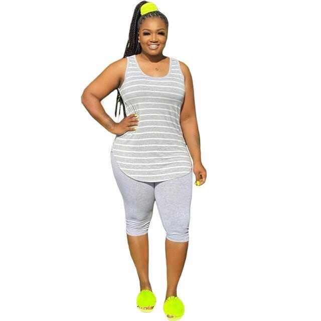 Plus Size XL-5XL Sport Two Piece Sets - gray color