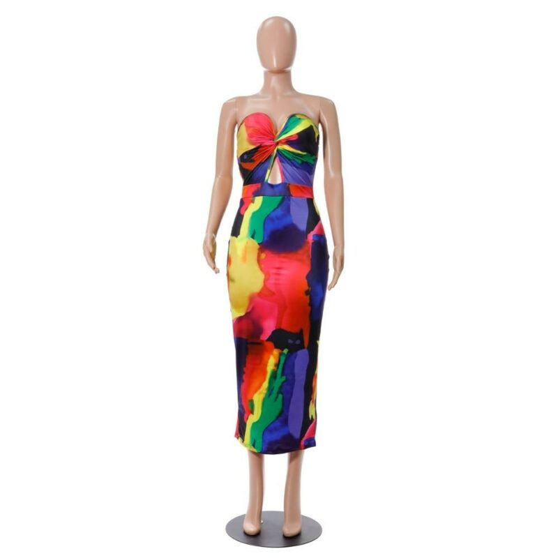 Sexy Printed Strapless Dresses - multi front