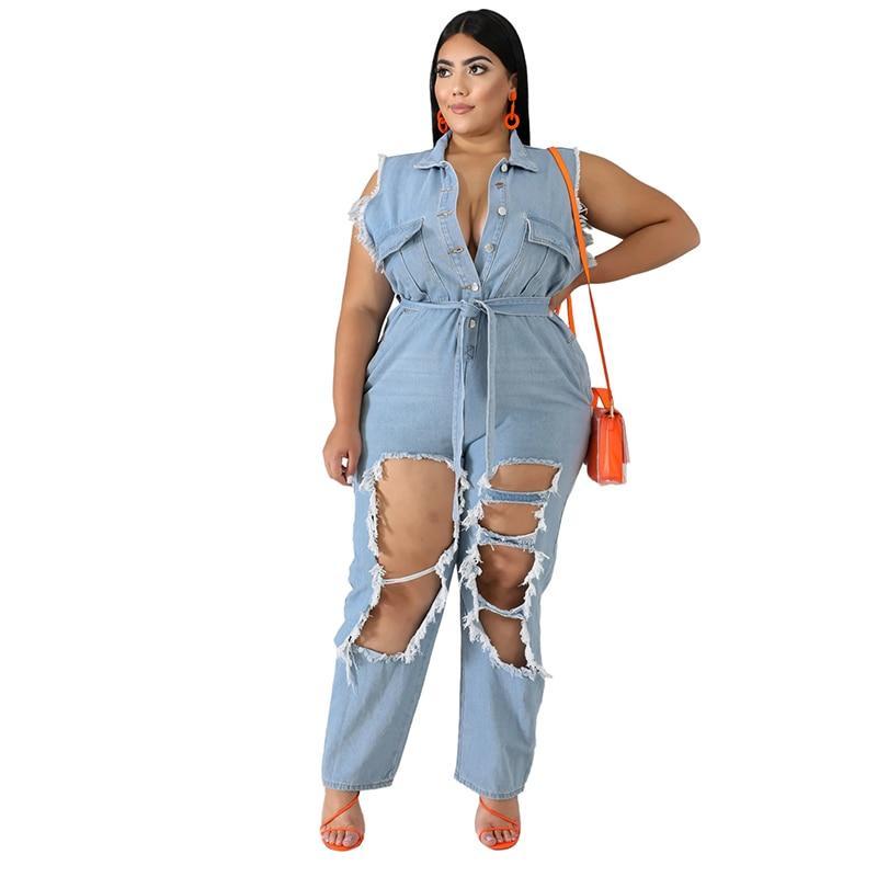 Plus Size Denim Jumpsuits - blue positive