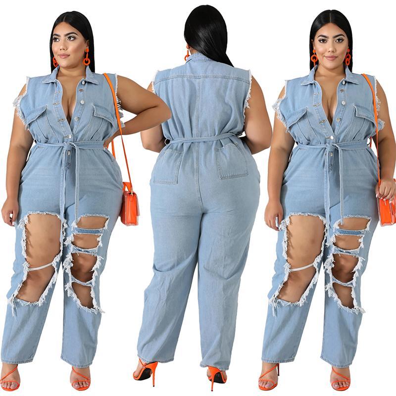 Plus Size Denim Jumpsuits - main picture
