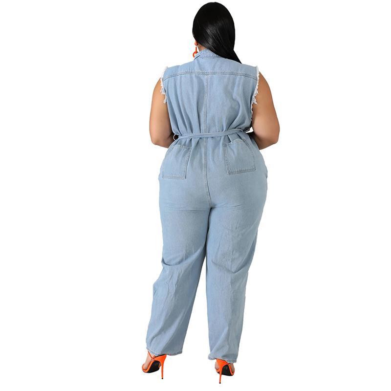 Plus Size Denim Jumpsuits - blue back