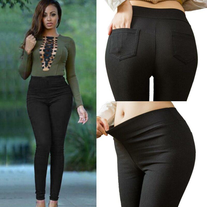 Plus Size Pencil Pants Trousers - black color
