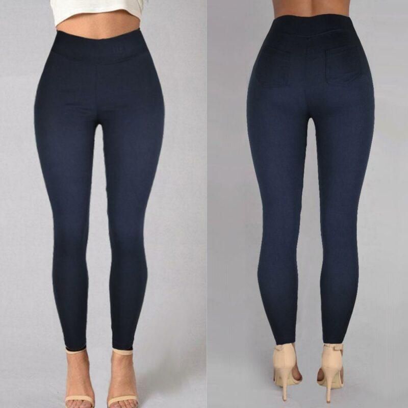 Plus Size Pencil Pants Trousers - navy color