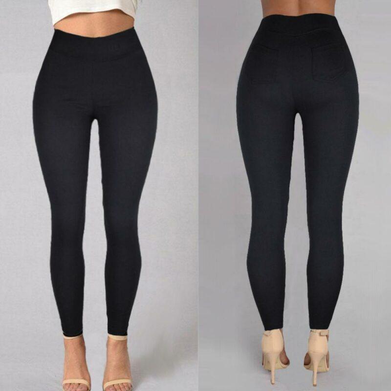 Plus Size Pencil Pants Trousers - black detail image