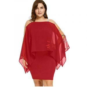 Plus Size Chiffon Red Dress - red main picture