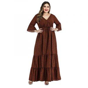 Plus Size Satin Dress - brown main picture