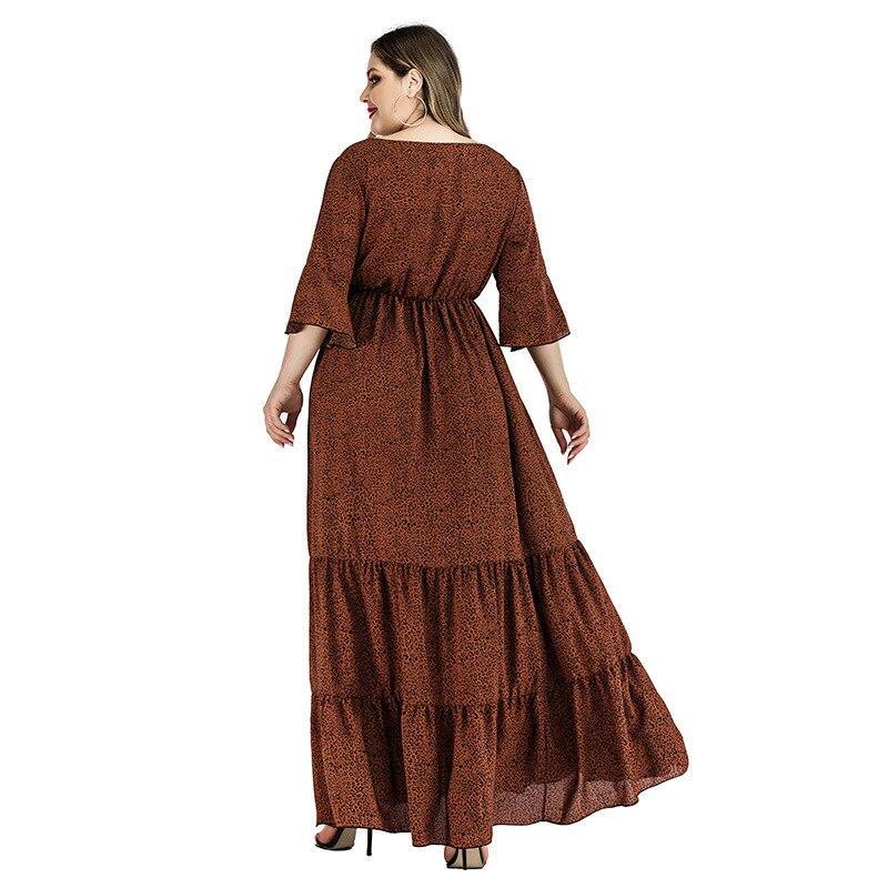Plus Size Satin Dress - brown back