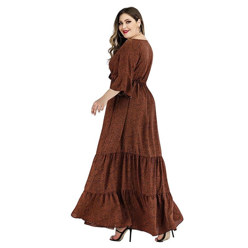 Plus Size Satin Dress - brown side