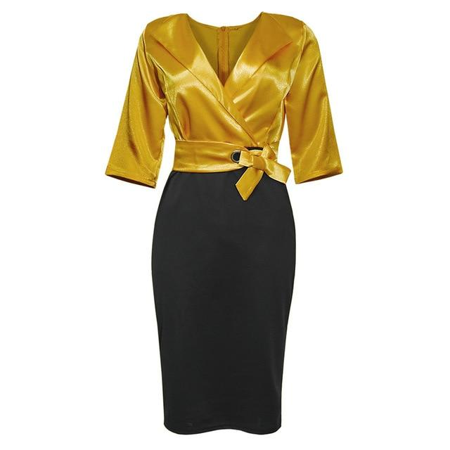 Vintage Inspired Plus Size Dresses - yellow color